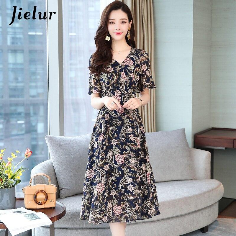 Jielur Oversized Dress Women Flare Sleeve V-neck Summer Beach Dress Printed Elegant Chiffon Midi Dresses Fashion Korean Vestidos