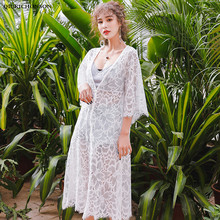 Beach Kimono Cardigan Summer Fairy Bohemian Tops Ladies Single Breasted V Neck Flare Sleeve Side Slit Floral Eyelash Lace Blouse недорого