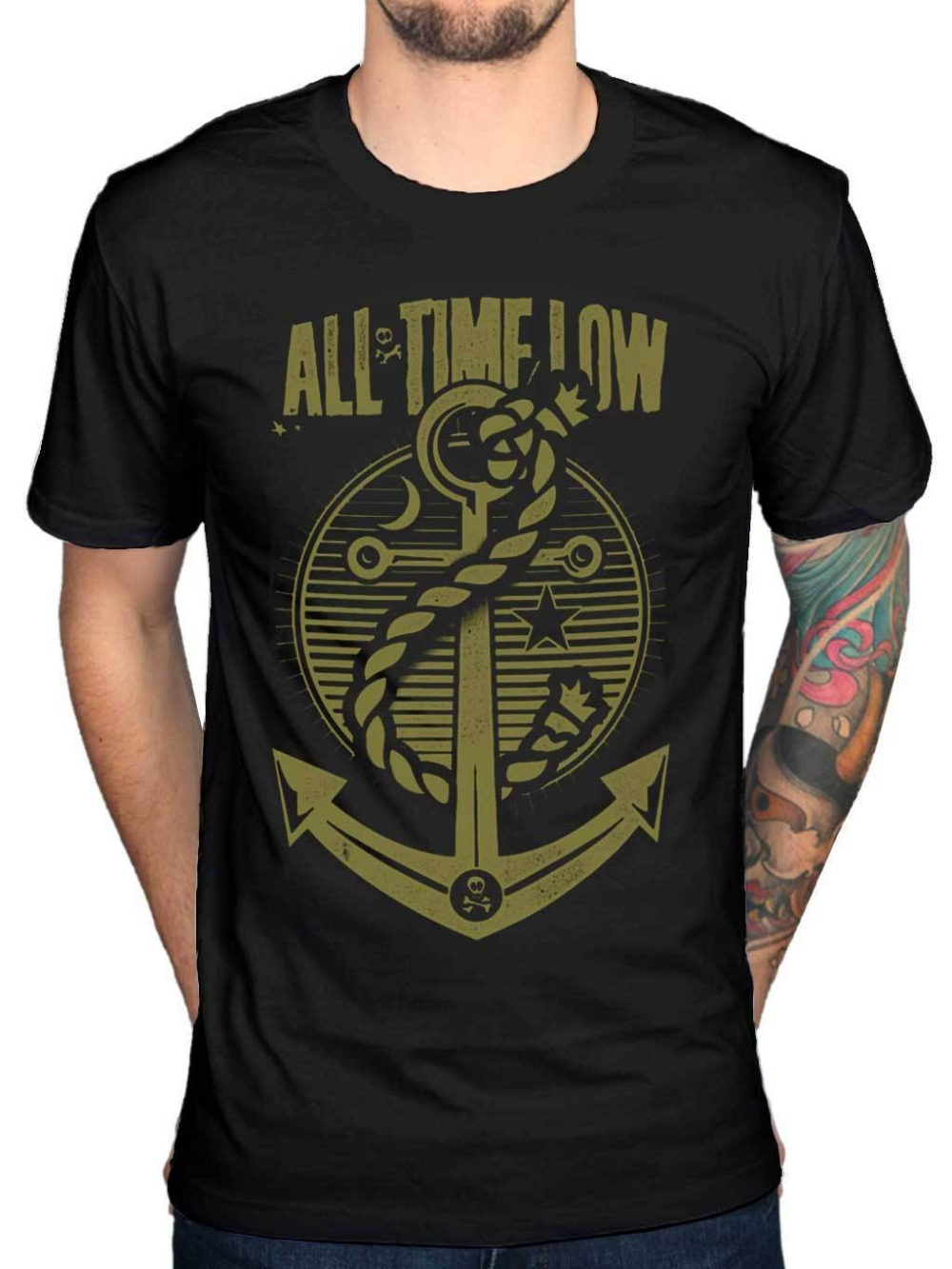 Summer 2018 New Official All Time Low Holds It Down T-Shirt A Love Like War Glamour Kills Panic Print Summer Tops Tees
