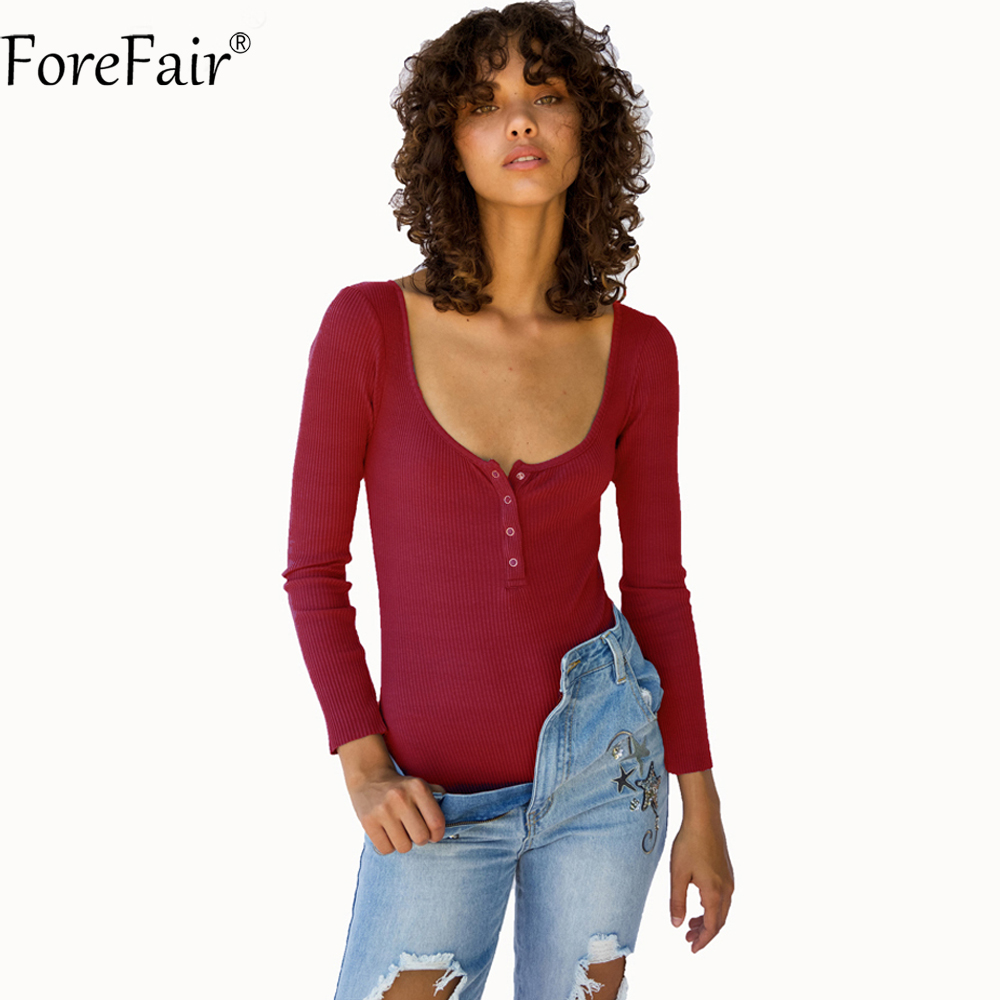 ForeFair Autumn Knitted Long Sleeve Elastic Slim Bodysuit Top Women O neck Front Buttons All Match