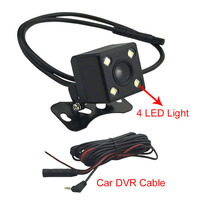 Car DVR Rear View Camera With Wire Cable 5M 4 PIN Rearview Camera With 4 LED