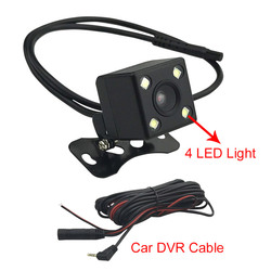 Car DVR Rear View Camera With Wire Cable 5M 4 PIN Rearview Camera With 4 LED Night Vision 140 Degree For DVR Video Recorder