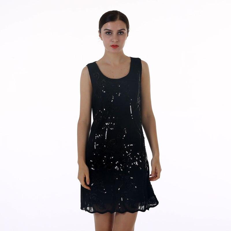 Buy Cheap BLINGSTORY European Brand summer lace sleeveless Sequin Bead black dress women Dropshipping KR3076-5