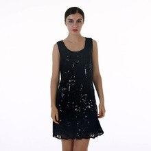 BLINGSTORY European Brand summer lace sleeveless Sequin Bead black dress women Dropshipping KR3076-5