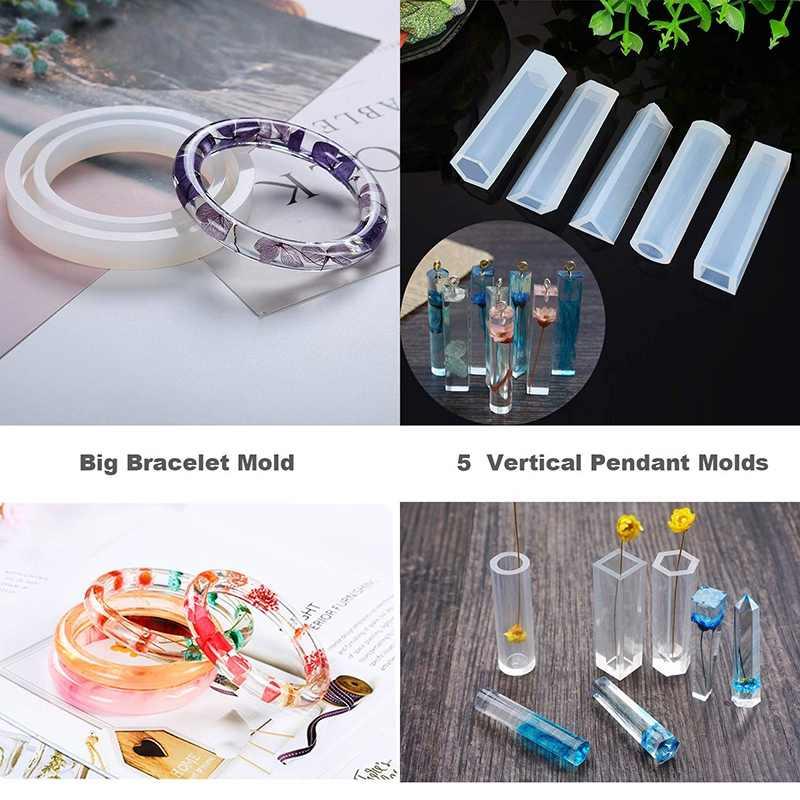 Tự Làm Đúc Nhựa Silicon Khuôn Bộ Chứa Lấp Lánh Bột Trang Sức Vòng Cổ Mặt Dây Chuyền Nhựa Khuôn Lớn 3D Trái Tim Nhựa Khuôn Roun
