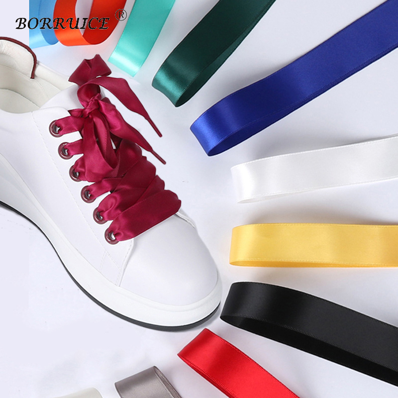 Candy Colors Flat Shoelaces Women Fashion Satin Ribbon Shoe Laces Silk Satin Wide Flat Webbing Shoelaces Off White Black Yellow