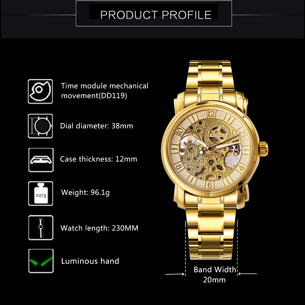 WINNAAR Topmerk Deluxe Vrouw All Golden Automatic Mechanisch horloge - Dameshorloges - Foto 3