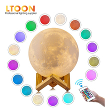 [LTOON]3DPrint Moon Lamp Rechargeable Remote control 16 Color Change Touch Night Light Lunar Luna Baby Nightlight Christmas gift