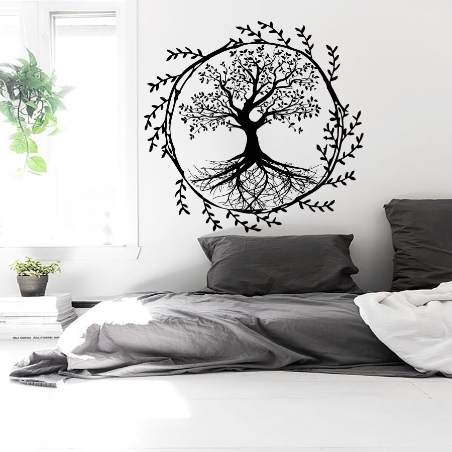 Family Rusric Home Decor Tree Design Poster Mural Beauty Fashion Bedroom Decoration Modern Wall Sticker Art Vinyl Decals W232 in Wall Stickers from Home Garden