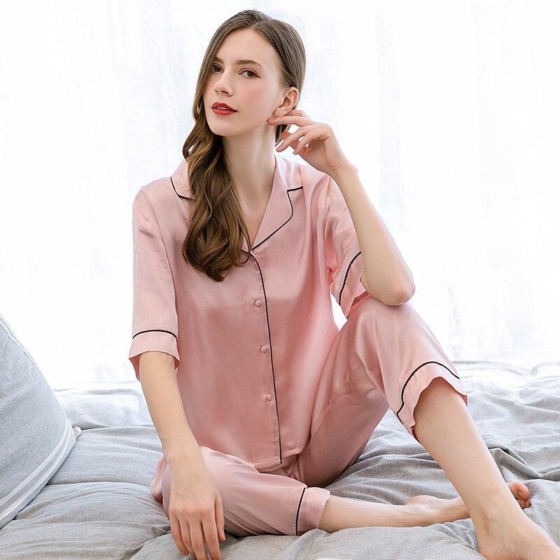 Femmes 100% soie loisirs porter pyjamas ensemble 2019 vêtements de nuit de salon pour dames chemise de nuit pyjamas naturel Pure soie chemise de nuit ensembles