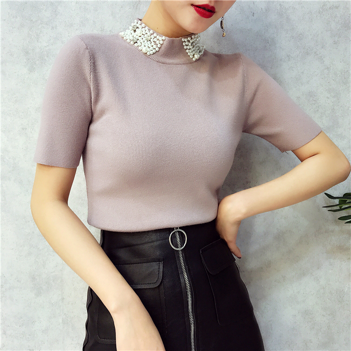 ALPHALMODA 18 Summer Ladies Short-sleeved Pearl Collar Pullovers Casual Slim Knit Sweater Women Studded Fashion Jumpers 28