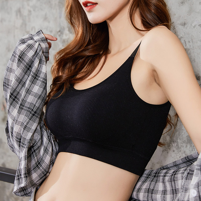 Women Seamless Bra Breathable Tube Top Solid Color Adjustable For Sports Sleep KNG88