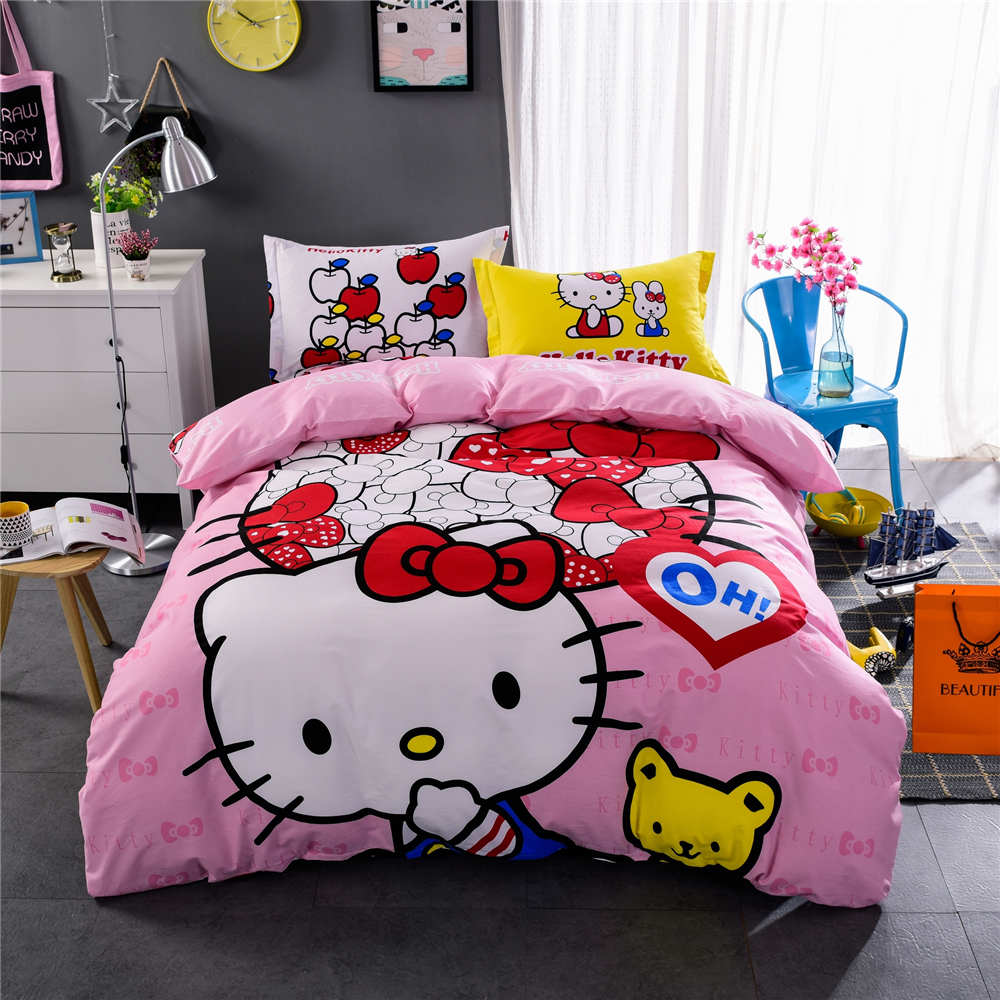 Black hello kitty bedding - Hello Kitty Bedding Sets Bedspreads Girl S Childrens Quilt Duvet Covers 500tc Woven Cotton Twin Full Queen King Size Pink Yellow