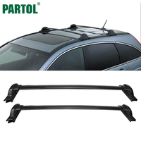 Partol 2Pcs Set Black Car Roof Rack Cross Bars Crossbars 60kg 132LBS Cargo Luggage Snowboard Carrier