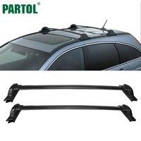 Partol 2Pcs Set Black Car Roof Rack Cross Bars Crossbars 60kg 132LBS Cargo Luggage Snowboard Carrier