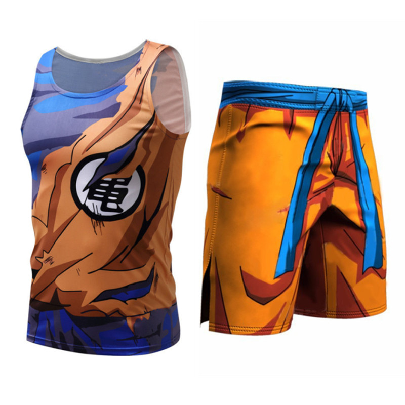 Dragon Ball Costume Mens Compression Tee-shirt Sleeveless Son Goku Vegeta Bodybuilding   Tank     Tops   Shorts Fitness Leggings