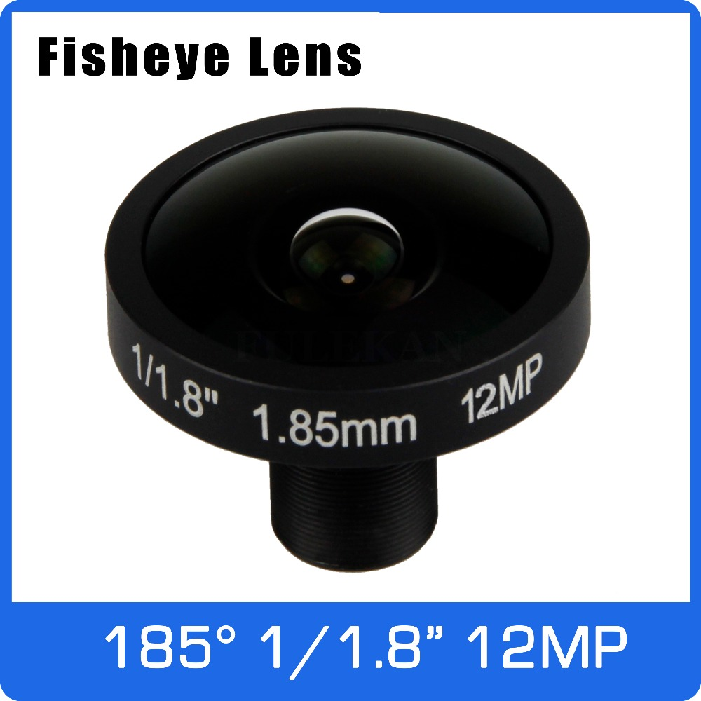4K Lens 12Megapixel Fisheye 1/1.7 Inch 185 Degree M12 Mount Lens 1.85mm For IMX226 Sensor Ultra 4K Camera Free Shipping