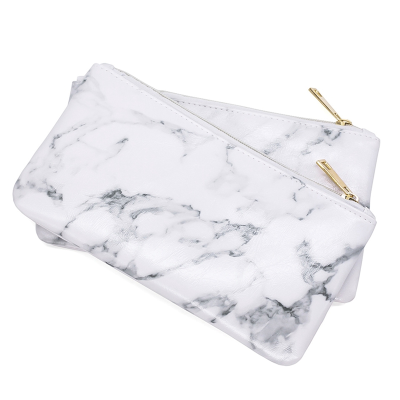 все цены на 2018 Fashion Marble PU Leather Cosmetic Bag Organize Zipper Storage Bag Portable Ladies Travel Square Makeup Brushes Bag онлайн