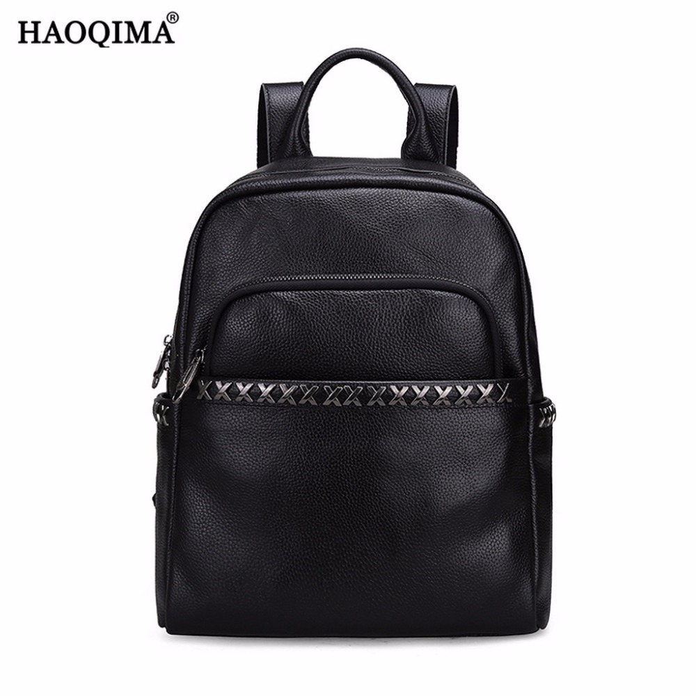 HAOQIMA Genuine Leather Backpacks Women Girls Backpack Top layer Cowhide School Shoulder Bags First Layer Cow Leather zency genuine leather backpacks female girls women backpack top layer cowhide school bag gray black pink purple black color