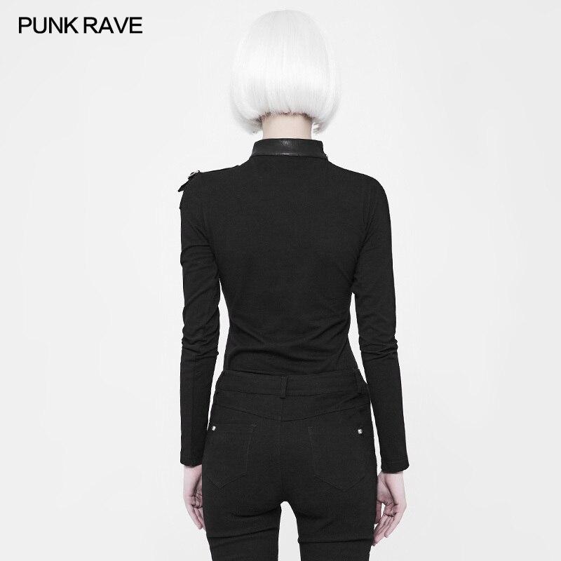 Mode élastique Slim-ajustement épaule avec fermeture à glissière en métal à manches longues T shirt gothique noir femmes T-shirt PUNK RAVE WT-518TCF - 4