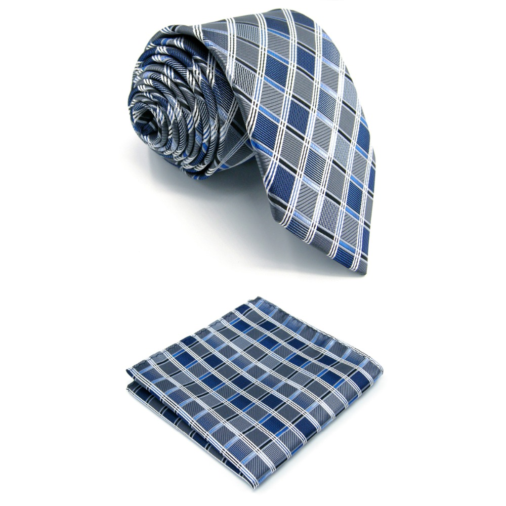 """A17 Silver Gray Blue Checkered Silk Fashion ties for men Wedding Brand New Dress Mens Necktie male extra long size Hanky 63"""""""