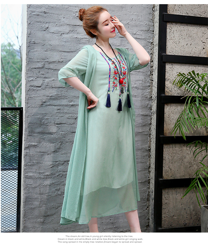 2019 New Cotton Linen Casual 2 Pieces Women Dresses Slim Sleeveless Dress And Cardigan Summer Embroidery Chinese Style Dress 13
