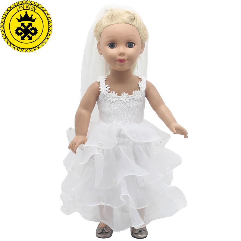 LIN KUN American Girl Doll Clothes White Wedding 18 inch Doll Clothes Madame Alexander Princess Dress 2 Styles MG-250 american girl doll clothes ears and tail tiger leopard sets doll clothes with shoes free for 16 18 inch dolls 3 colors mg 262