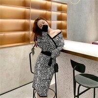 2019 sexy bat sleeve female V neck leopard knit sweater dress