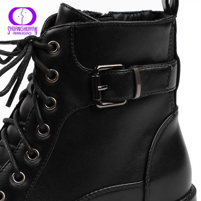 AIMEIGAO/черные ботильоны на шнуровке женские осенне-зимние ботинки на молнии на низком каблуке женские мотоциклетные ботинки с ремешком и пряжкой водонепроницаемые