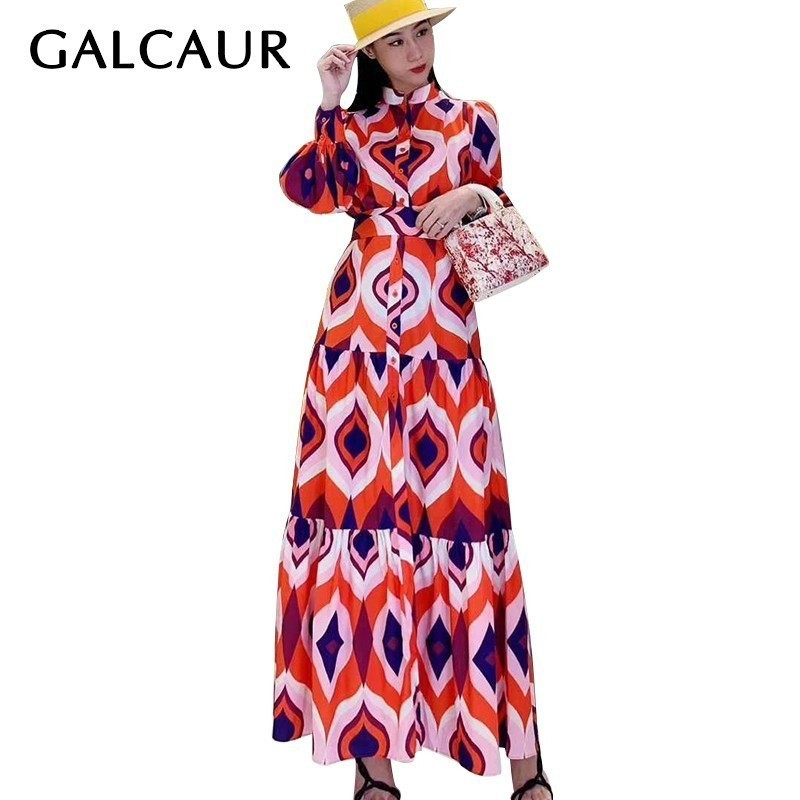 GALCAUR Elegant Geometric Print Dress For Women Stand Collar Lantern Sleeve High Waist Sashes Dresses Female
