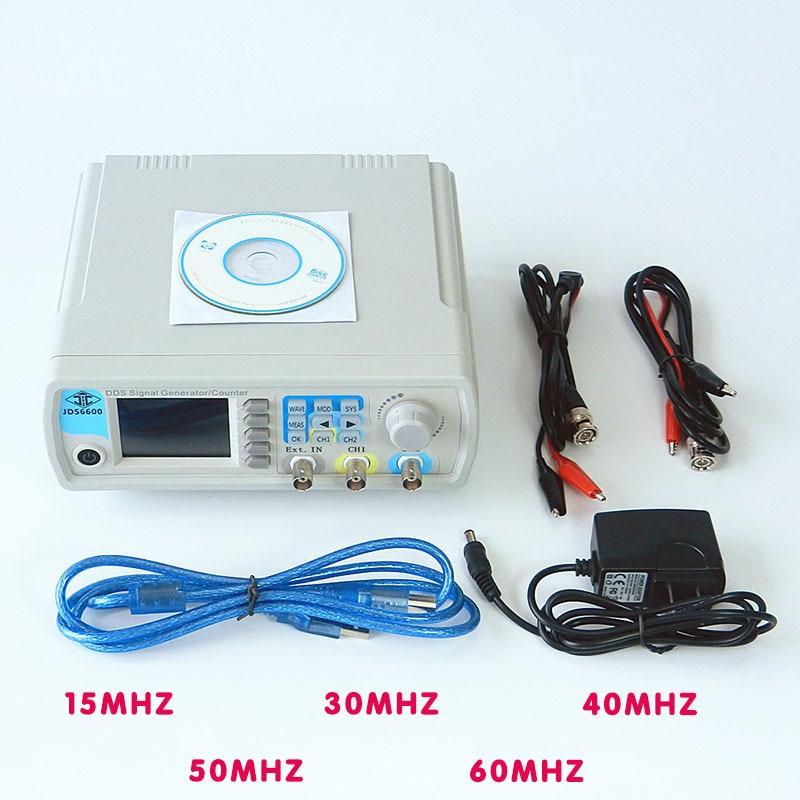 JDS6600 MAX 60 MHz Controle Dual-channel Digital medidor de freqüência Gerador de Sinal Função DDS Arbitrária de forma de Onda senoidal