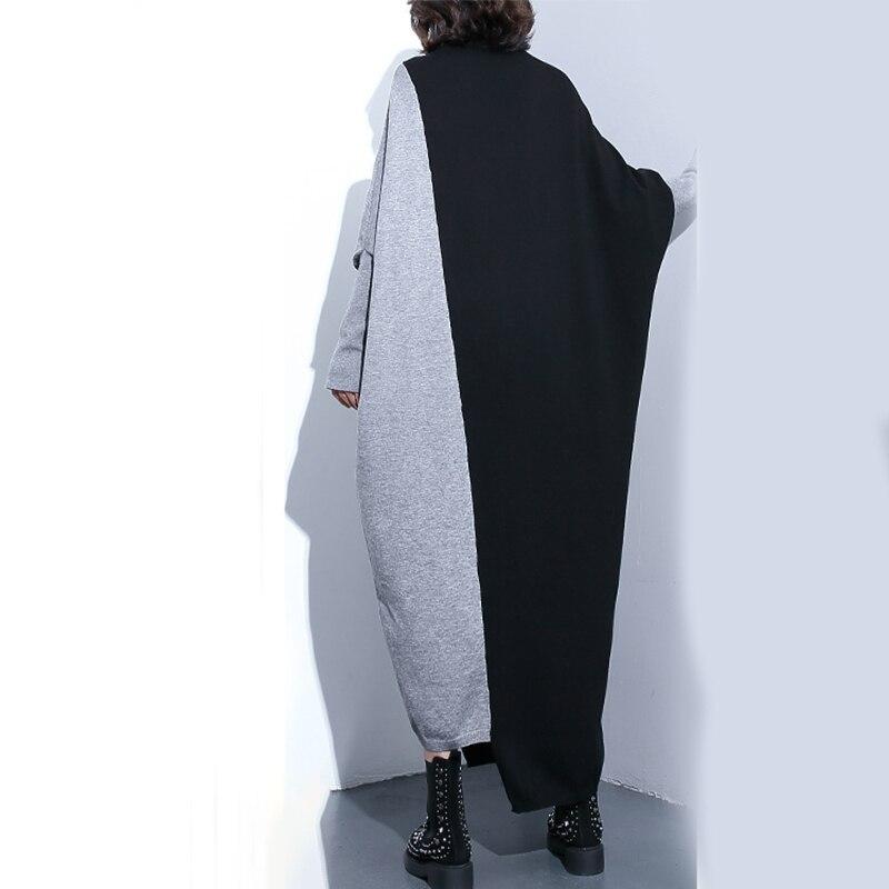 Femmes Mode 2019 Longue Noir Manches Printemps Ji92 Black Col Automne Haut Frappé Sweat Nouveau Chauve Shengpalae Couleur Tricoté souris vmNnw80O
