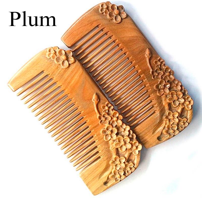 3 diferenti 1 gabali Zaļie sandalkoka matu ķemmes ziedu plūmju lotosa peonija Carving Ķemmes daba karsti pārdod