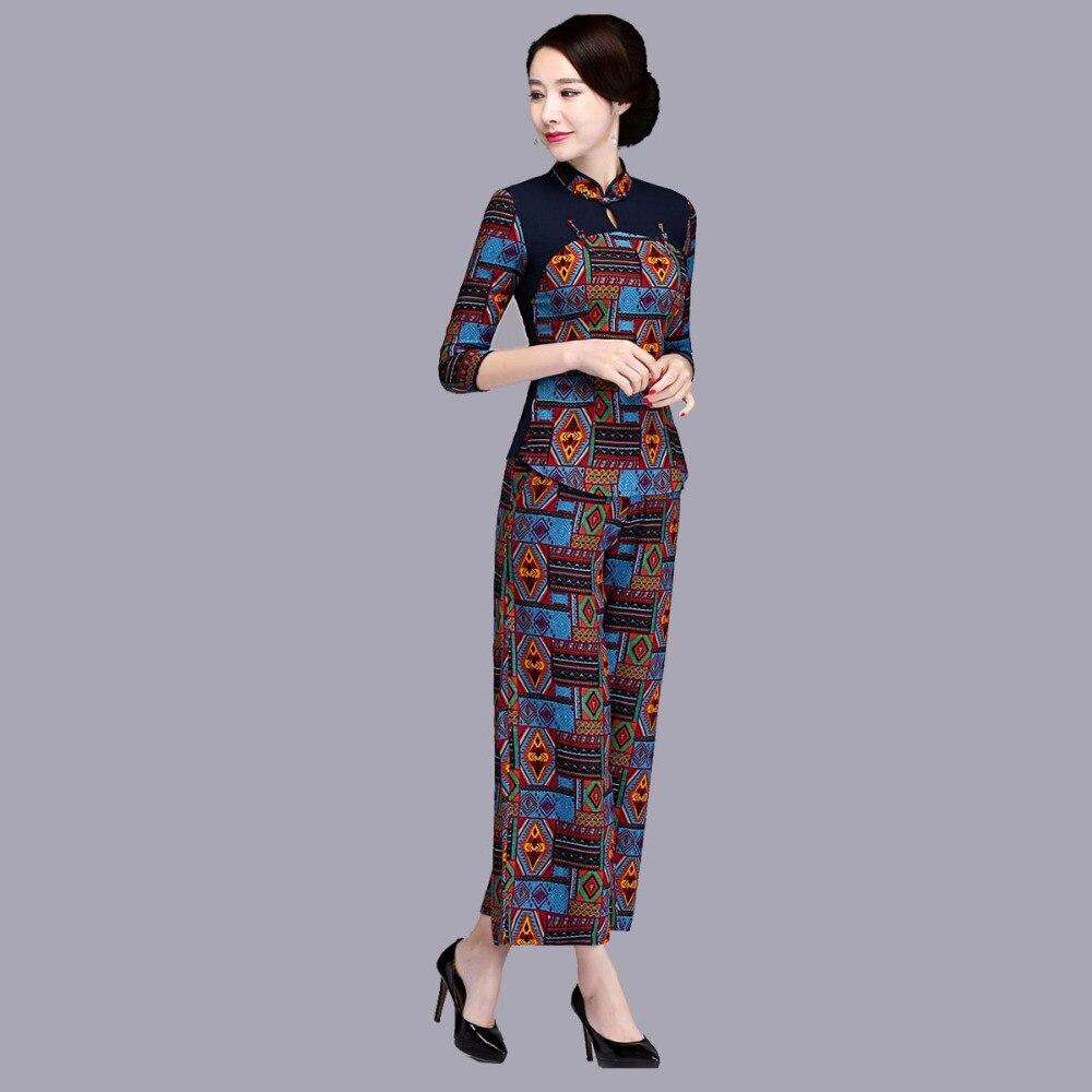 Travail A Bouton b Bureau Costume Ligne Casual Un Ethniques 2 Chinois Pour Pièce Et Femmes Coton Pantalons Pantalon Wear Ensemble Costumes Mode Dame Les Chemise qxgU7F5