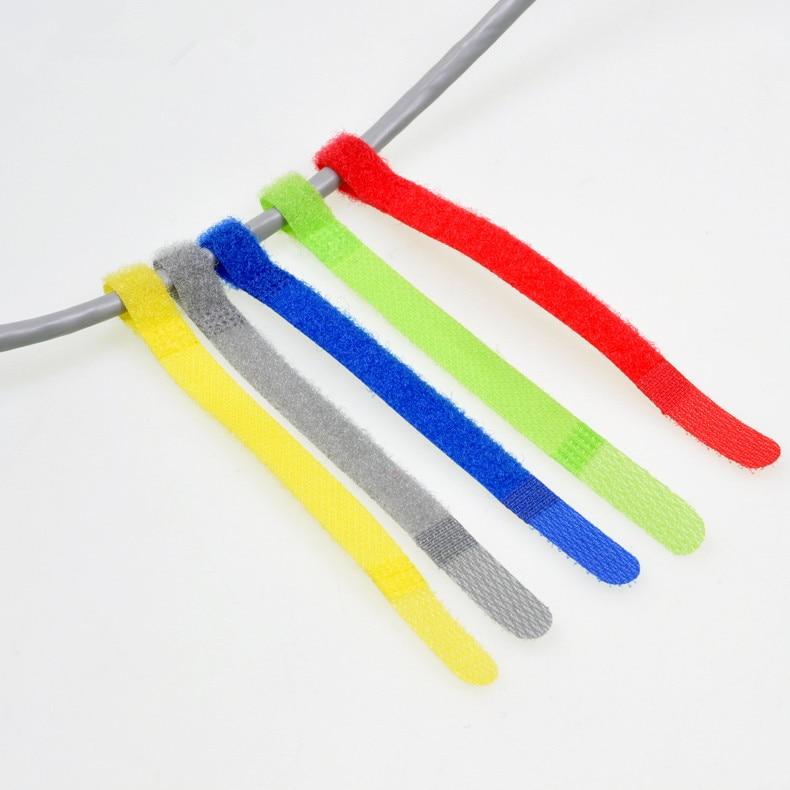10PCS MT018 P-Type Hook&loop Nylon Fastening Tape Magic Strap Width 10 mm Cable Tie length 10/15/17.5cm ribbon Belting fixing