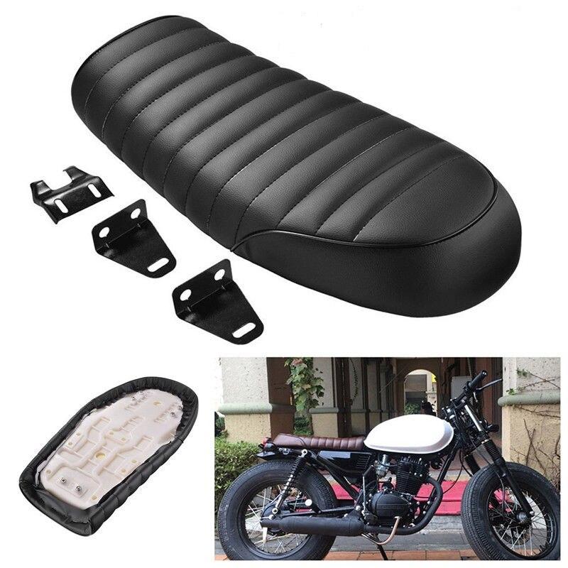 Black Brown Motorcycle Retro Seat Vintage Flat Brat Seat Cafe Racer Saddle Scramble GN CB350 CB400 CB500 CB750 SR400 XJ XS KZ