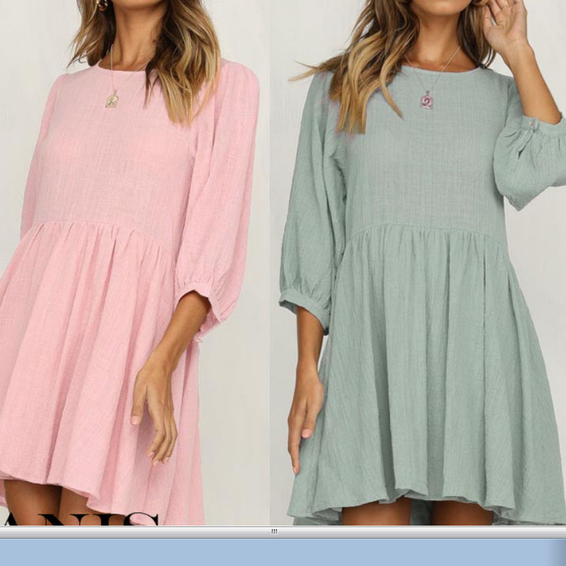 US Womens Holiday Casual Lantern Seven-Sleeve Mini Dress Ladies Summer Loose  Beach Dress