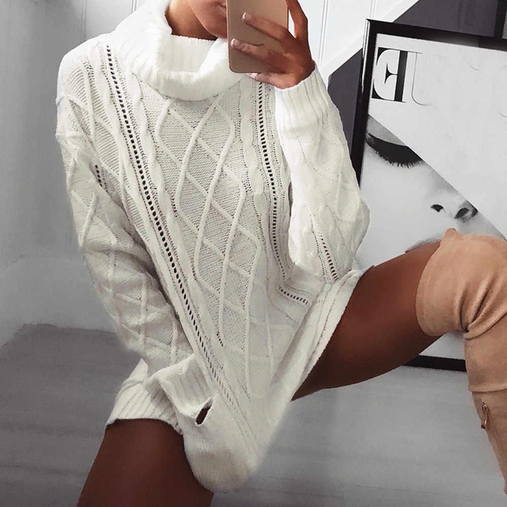 Женское платье, винтажный женский зимний свитер, вязаный водолазка, теплый, длинный рукав, карман, Сексуальное мини Повседневное платье