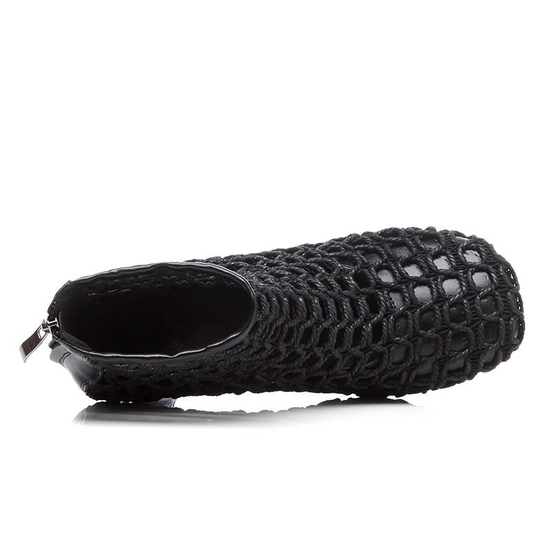 Haut 8 Noir Véritable Rouned En Nouveau Cuir Découpes 5 blanc Cheville Femme D'été Bottes Talons Hauts Chaussures À Dames Bout Cm Blanc Noir q1xA7Yw