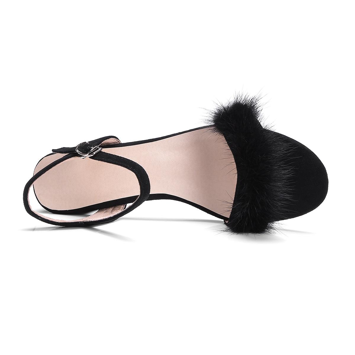 TASSLYNN 2019 Summer Open Toe Women 39 s Sandals Low Square Heel Faux Fur Women Shoes Sweet Style Shoes Ankle Strap Size 34 42 in High Heels from Shoes