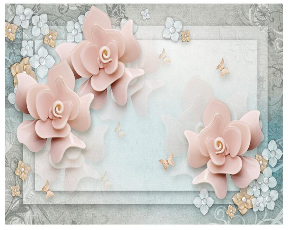 beibehang papel de parede Senior indoor wall paper 2016 pink aesthetic 3d flowers classic bedroom background wall 3d wallpaper