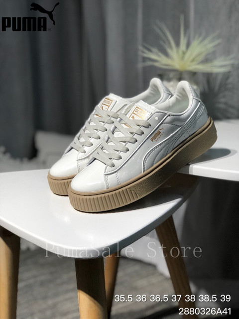 PUMA Basket Platform Women s Badminton Shoes 363314-05 Rihanna White Patent  Leather Shoes Thick-soled Women s Sneakers 35.5-40 809f4b840