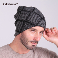 Men Winter Square Pattern Acrylic Beanies High Quality Knitted Warm Hats European And American Style Caps