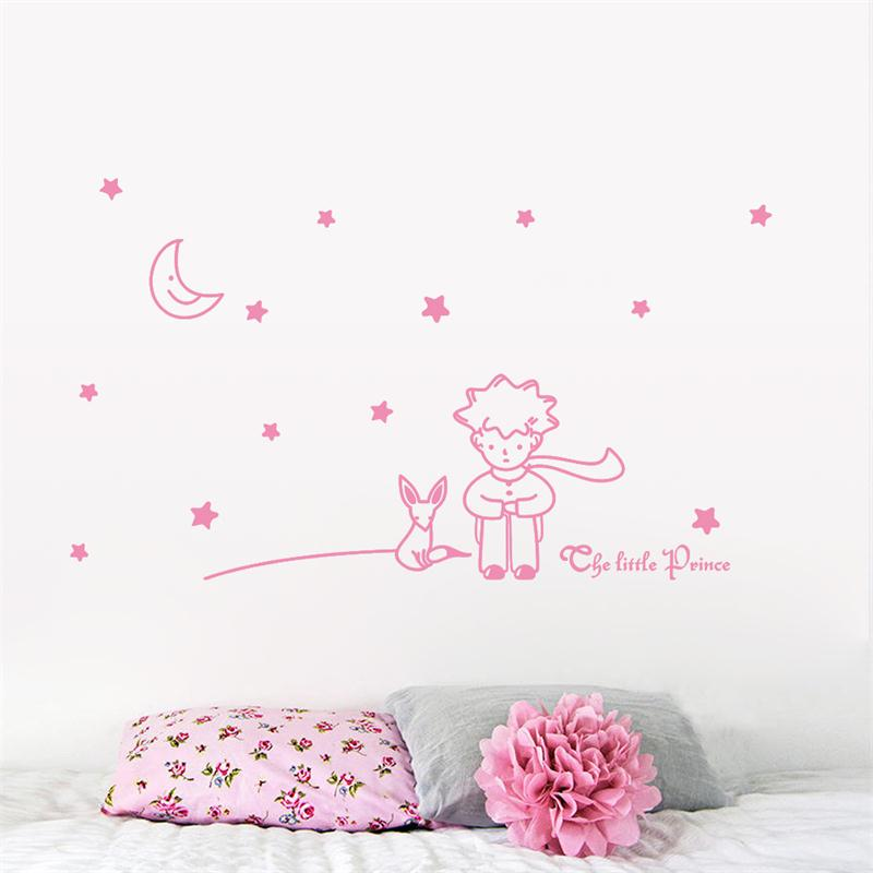 cute romantic little prince with fox moon star home decor wall sticker for kids baby room