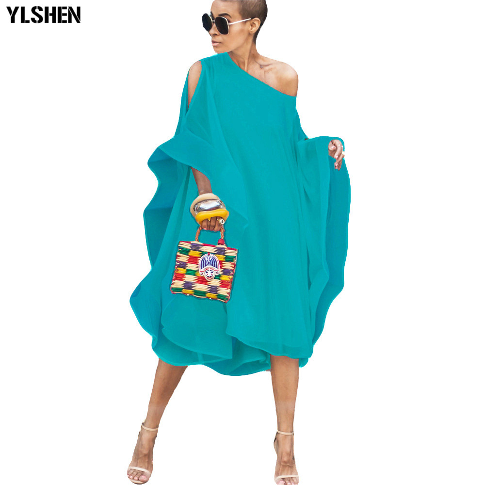 Summer Chiffon African Dresses For Women 2019 News Fashion Sexy Off-shoulder Fly Sleeve Long Africa Dress Bazin Casual Skirt