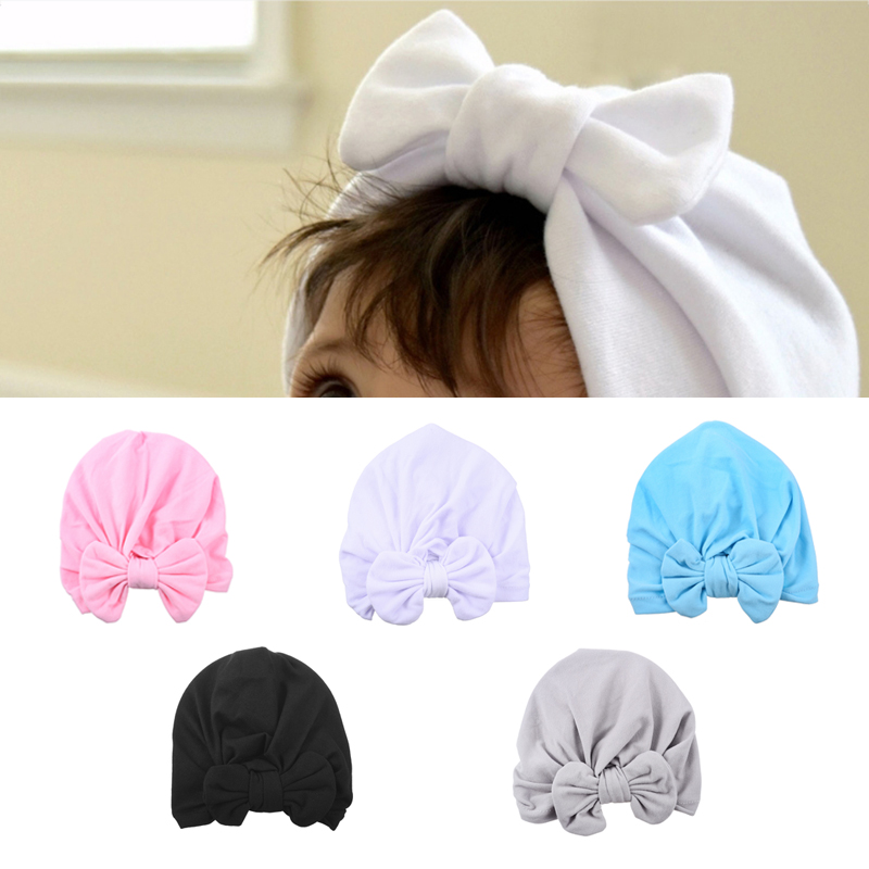 Baby Girl Boy Infant Soft Bow Hat Beanie Cap Vintage Retro Hair Ribbon Headband