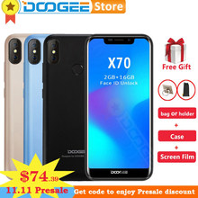 Doogee X70 5.5 inch 19:9 Android 8.1 Smartphone 4000mAh Battery 3G WCDMA 2GB 16GB Face Unlock Fingerprint ID 8.0MP Cell Phone(China)