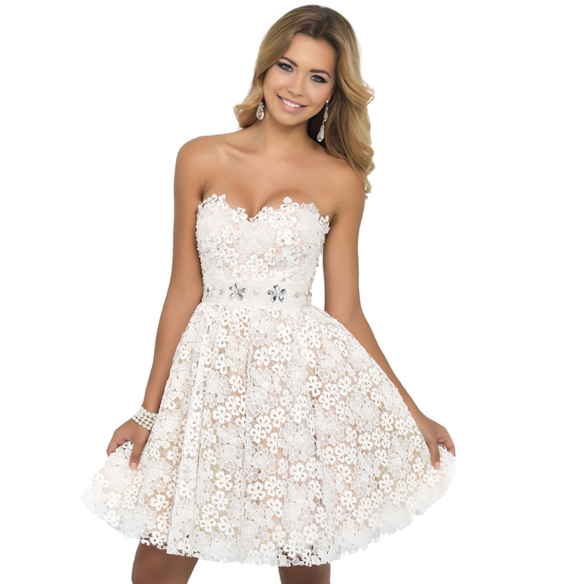 A line Sweetheart neckline Lace Short Homecoming Dresses For Girls ...