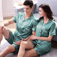 Summer Short sleeve Lovers Sleepwear Women's Or Man's Autumn Sexy Silk Thin Shorts Size M XXXL Lounge Set