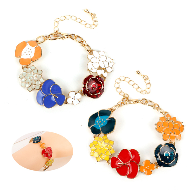 Mqchun Diy Charm Bracelets Bangle Women Bohemia Flower Sweet Jewelry For Female Bangles Wristbands Party